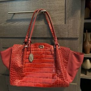 Elie Tahari Chic Fall Red Snakeskin Purse